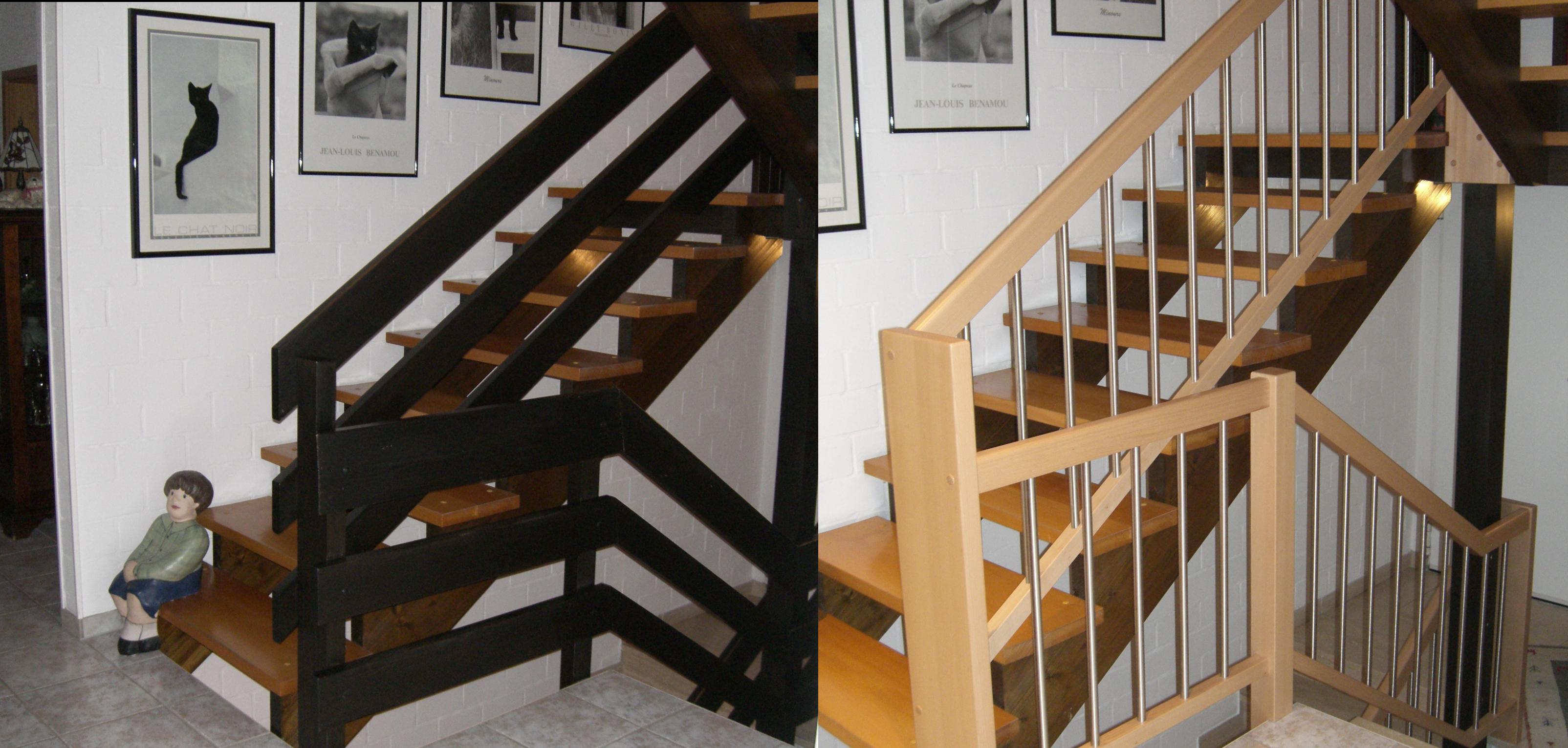 Holzgeländer erneuert in Buche hell, Massivholz