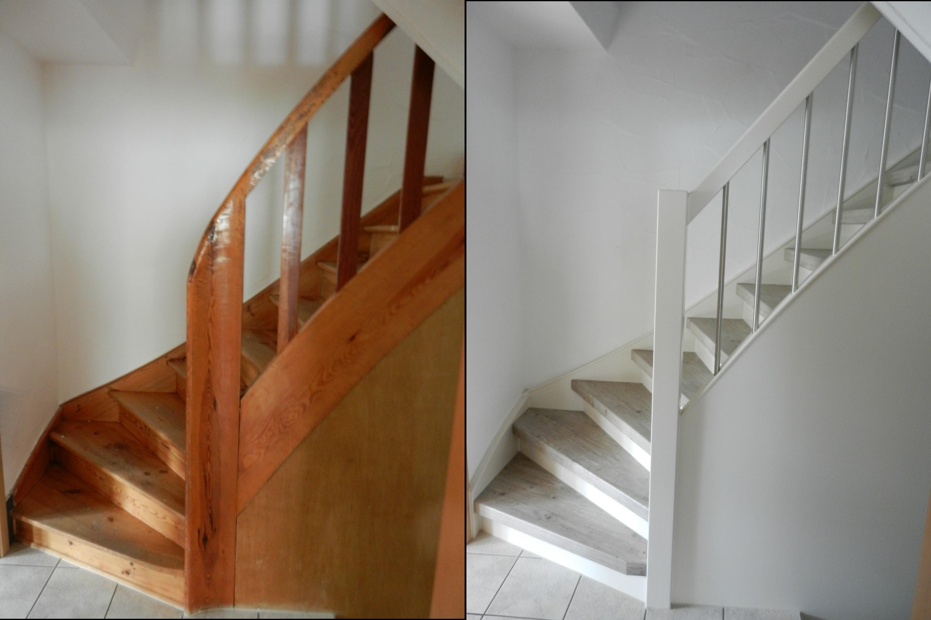 Holztreppe, Geländer + Wange weiß, Dekor vintage Laminat