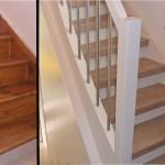 Holztreppe, Wange + Geländer weiß verkleidet, Edelstahlstäbe, Dekor Country Laminat