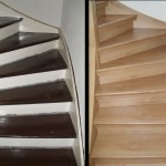 Holztreppe, Laminat Buche hell + Wange + Geländer