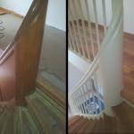 Holztreppe, Geländer offen mit neuen Holzstäben, Weiß
