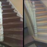 Holztreppe, Geländer und Wangen lackiert, Stufenvorderkante Massivholz mit Rutschgummi