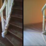 Holztreppe, Geländer und Wangen lackiert