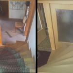Holztreppe mit altem Eisengeländer und neuem Sockel
