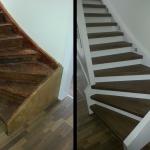 Holztreppe Laminat Eiche mit passenden Backen, Geländer + Wangen weiß